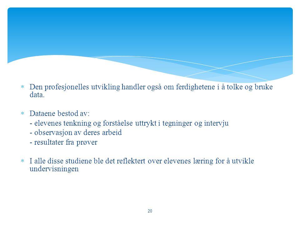  Den profesjonelles utvikling handler også om ferdighetene i å tolke og bruke data.  Dataene bestod av: - elevenes tenkning og forståelse uttrykt i