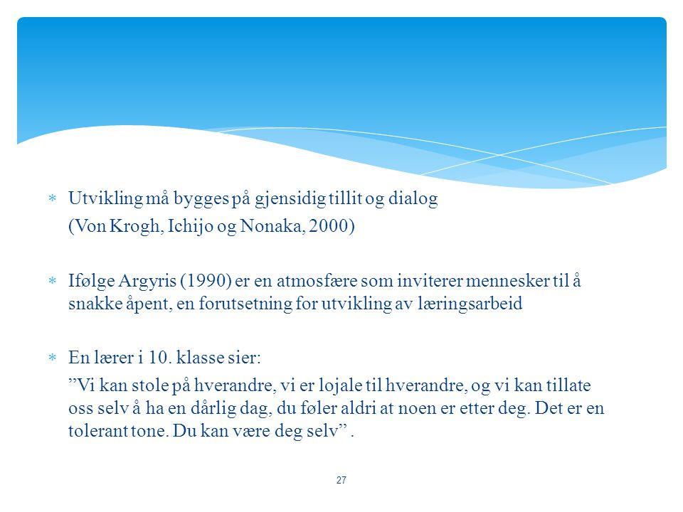  Utvikling må bygges på gjensidig tillit og dialog (Von Krogh, Ichijo og Nonaka, 2000)  Ifølge Argyris (1990) er en atmosfære som inviterer menneske