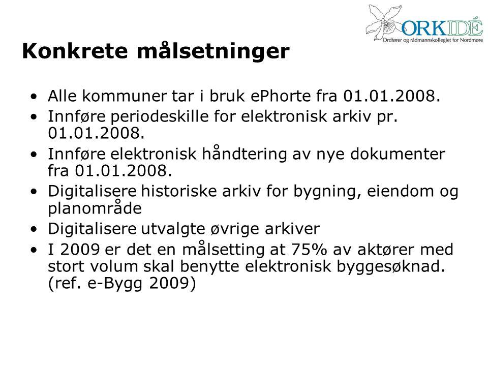 Konkrete målsetninger •Alle kommuner tar i bruk ePhorte fra 01.01.2008. •Innføre periodeskille for elektronisk arkiv pr. 01.01.2008. •Innføre elektron