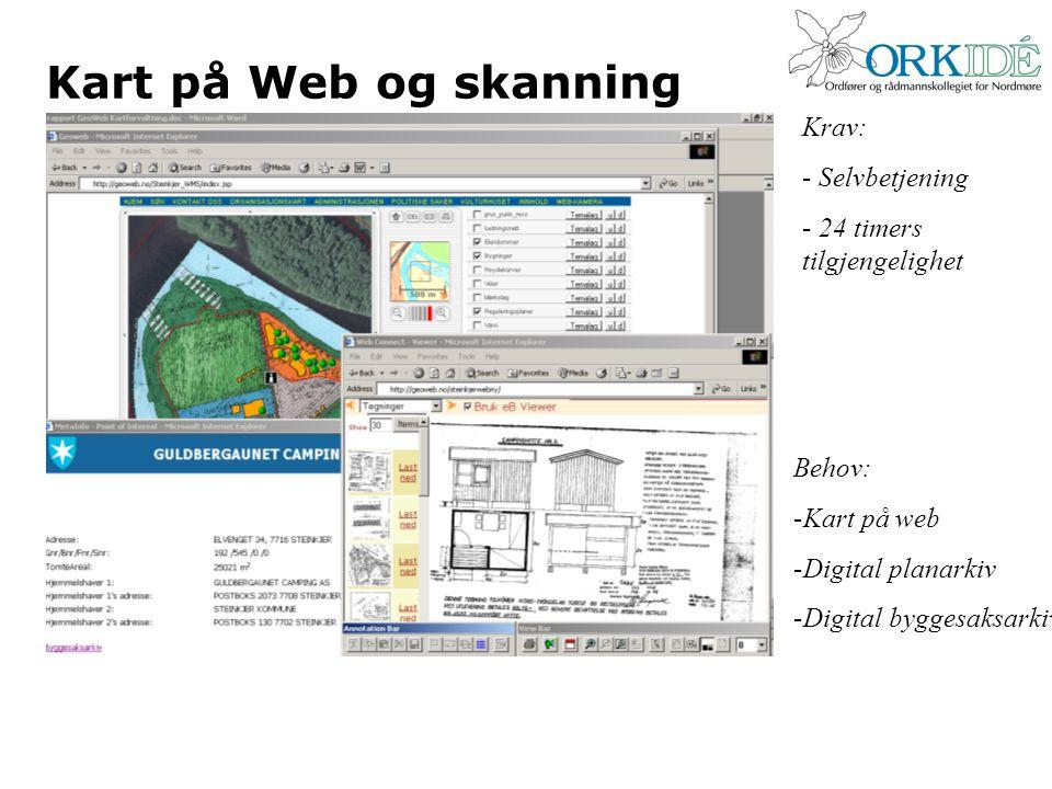 Kart på Web og skanning Behov: -Kart på web -Digital planarkiv -Digital byggesaksarkiv Krav: - Selvbetjening - 24 timers tilgjengelighet