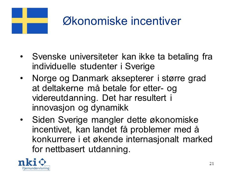 21 Økonomiske incentiver • Svenske universiteter kan ikke ta betaling fra individuelle studenter i Sverige • Norge og Danmark aksepterer i større grad at deltakerne må betale for etter- og videreutdanning.