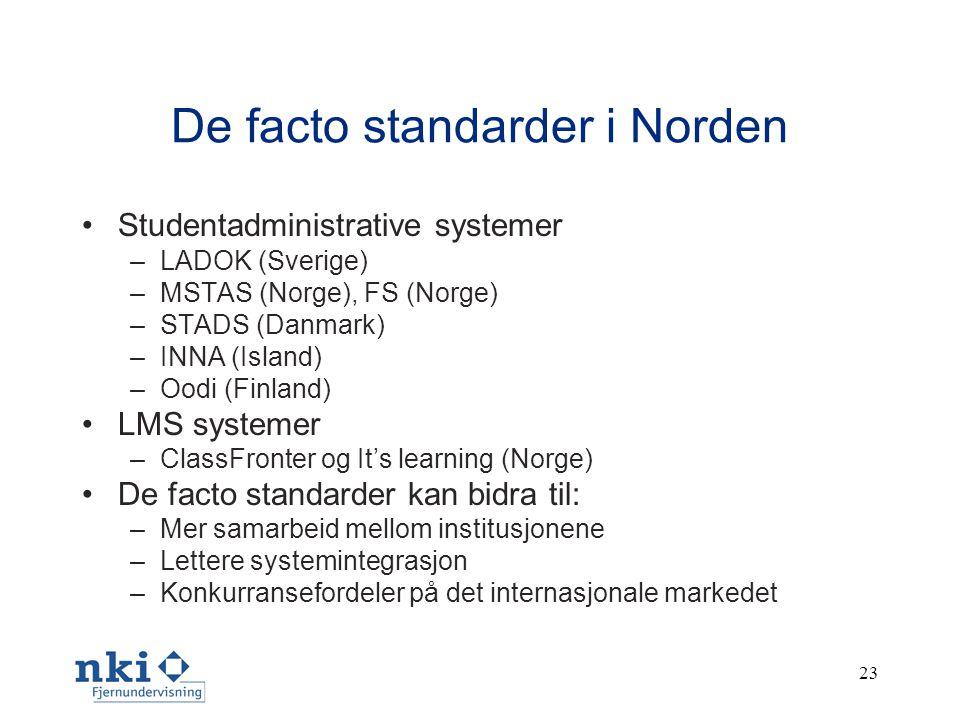 23 De facto standarder i Norden •Studentadministrative systemer –LADOK (Sverige) –MSTAS (Norge), FS (Norge) –STADS (Danmark) –INNA (Island) –Oodi (Finland) •LMS systemer –ClassFronter og It's learning (Norge) •De facto standarder kan bidra til: –Mer samarbeid mellom institusjonene –Lettere systemintegrasjon –Konkurransefordeler på det internasjonale markedet