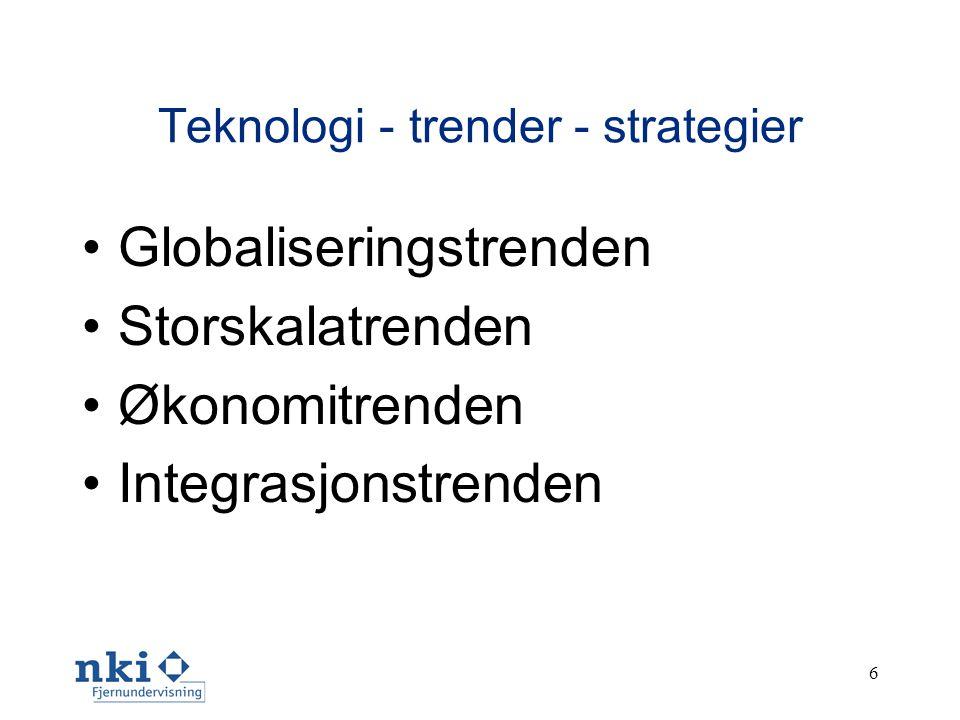 6 Teknologi - trender - strategier •Globaliseringstrenden •Storskalatrenden •Økonomitrenden •Integrasjonstrenden