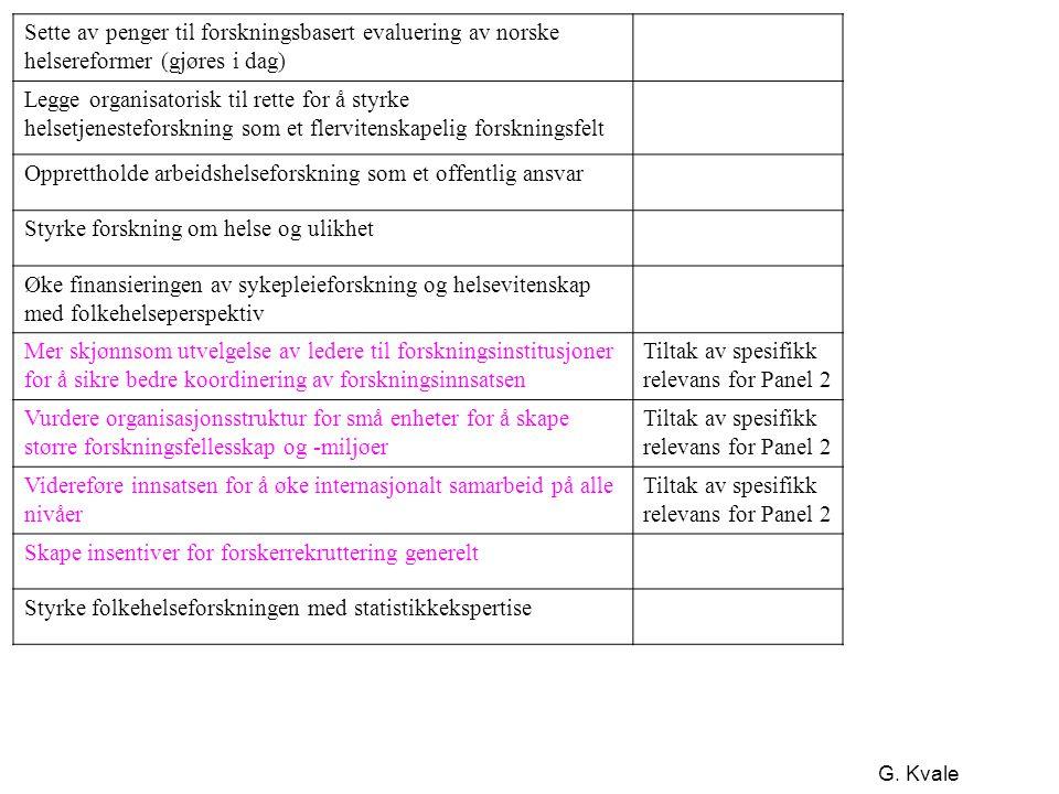 G. Kvale Sette av penger til forskningsbasert evaluering av norske helsereformer (gjøres i dag) Legge organisatorisk til rette for å styrke helsetjene