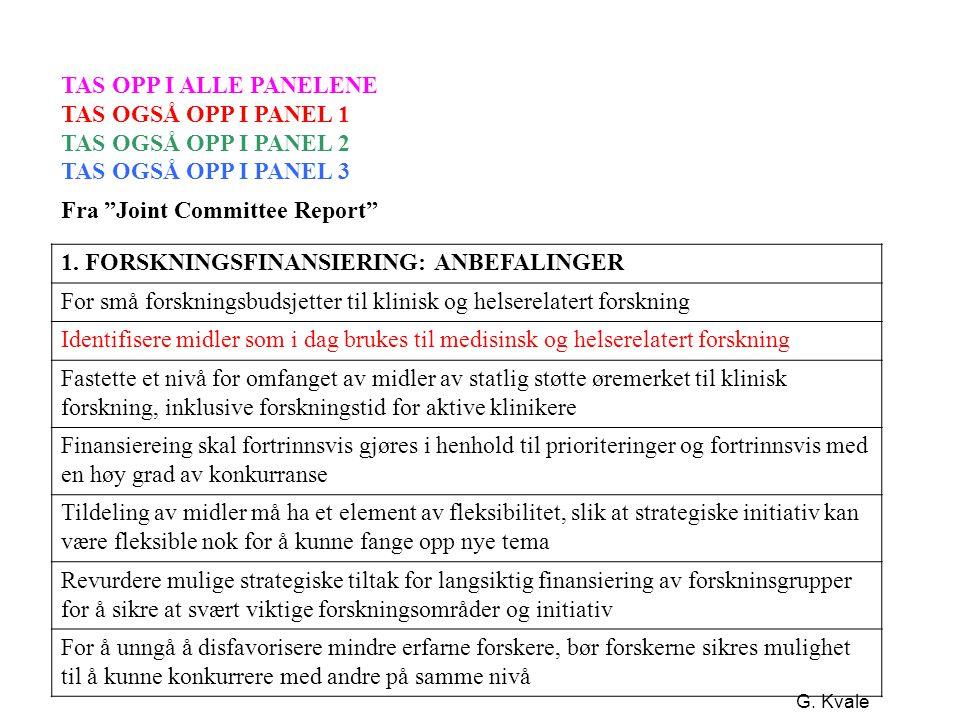"""G. Kvale TAS OPP I ALLE PANELENE TAS OGSÅ OPP I PANEL 1 TAS OGSÅ OPP I PANEL 2 TAS OGSÅ OPP I PANEL 3 Fra """"Joint Committee Report"""" 1. FORSKNINGSFINANS"""