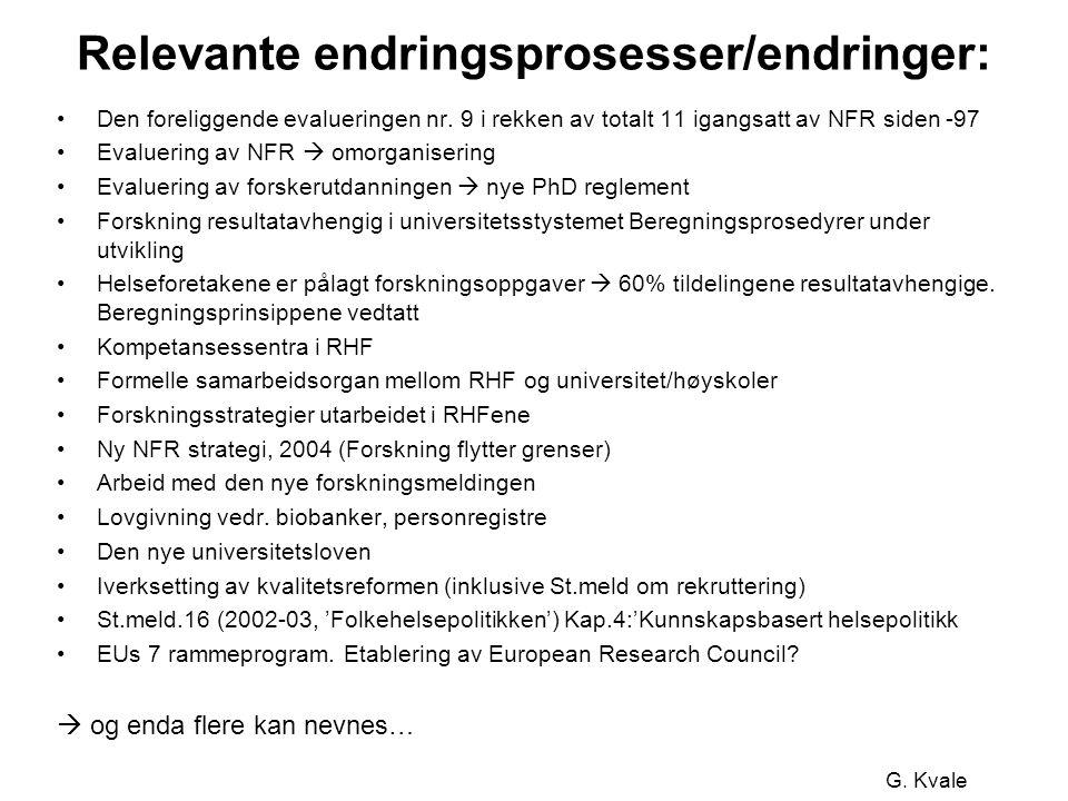 G. Kvale Relevante endringsprosesser/endringer: •Den foreliggende evalueringen nr.