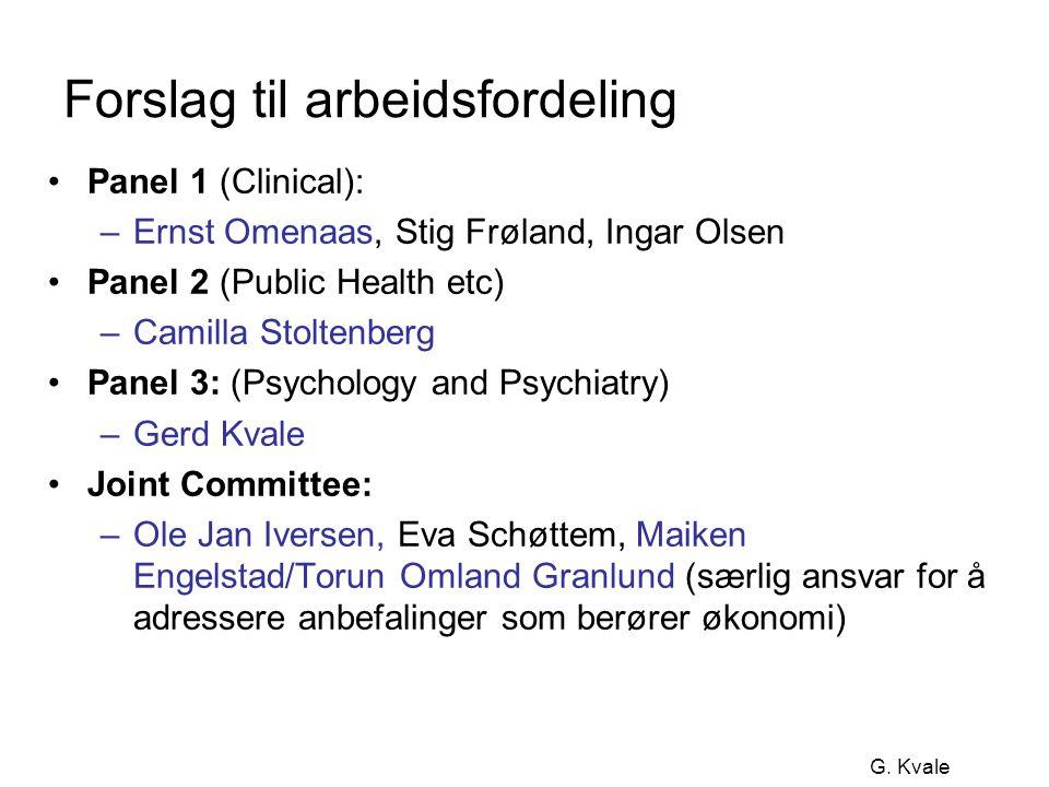 G. Kvale Forslag til arbeidsfordeling •Panel 1 (Clinical): –Ernst Omenaas, Stig Frøland, Ingar Olsen •Panel 2 (Public Health etc) –Camilla Stoltenberg