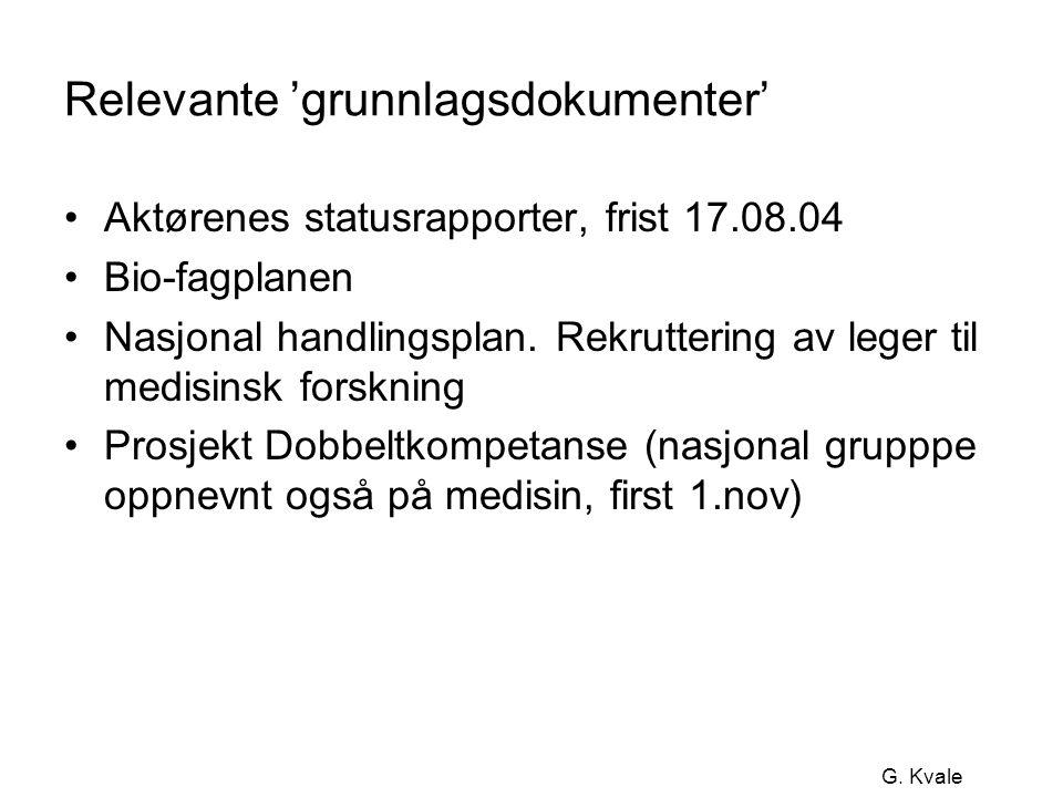 G. Kvale Relevante 'grunnlagsdokumenter' •Aktørenes statusrapporter, frist 17.08.04 •Bio-fagplanen •Nasjonal handlingsplan. Rekruttering av leger til