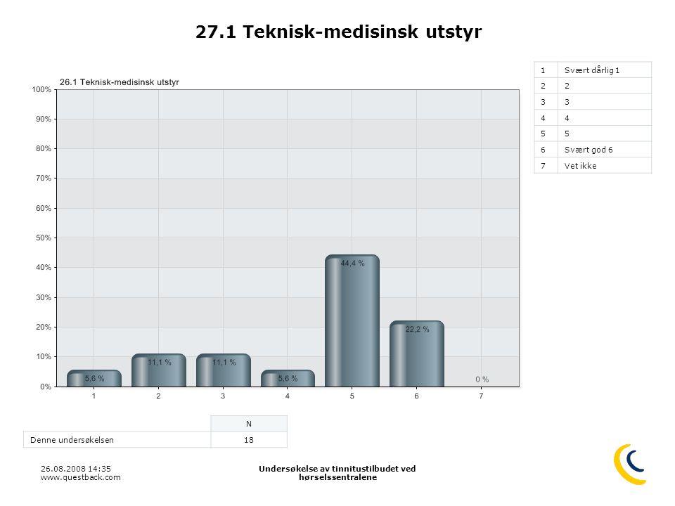 26.08.2008 14:35 www.questback.com Undersøkelse av tinnitustilbudet ved hørselssentralene 38 27.1 Teknisk-medisinsk utstyr 1Svært dårlig 1 22 33 44 55 6Svært god 6 7Vet ikke N Denne undersøkelsen18