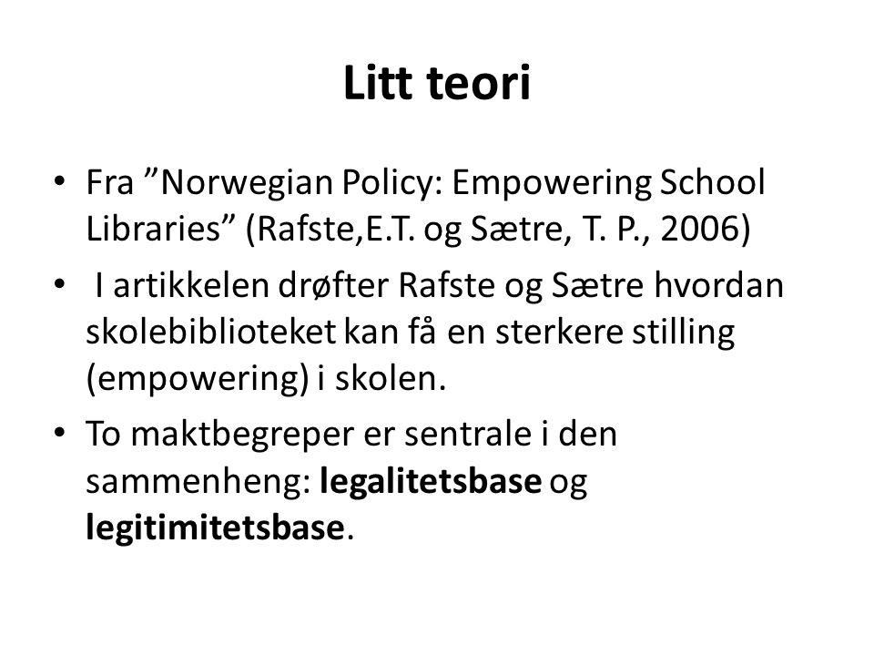 "Litt teori • Fra ""Norwegian Policy: Empowering School Libraries"" (Rafste,E.T. og Sætre, T. P., 2006) • I artikkelen drøfter Rafste og Sætre hvordan sk"