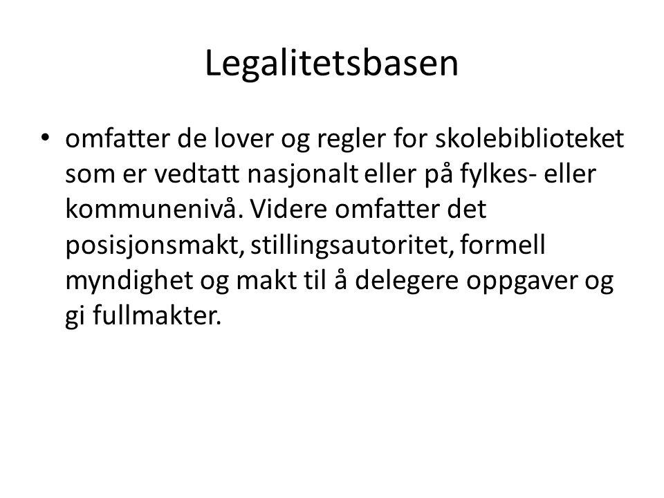Legalitetsbasen • omfatter de lover og regler for skolebiblioteket som er vedtatt nasjonalt eller på fylkes- eller kommunenivå. Videre omfatter det po