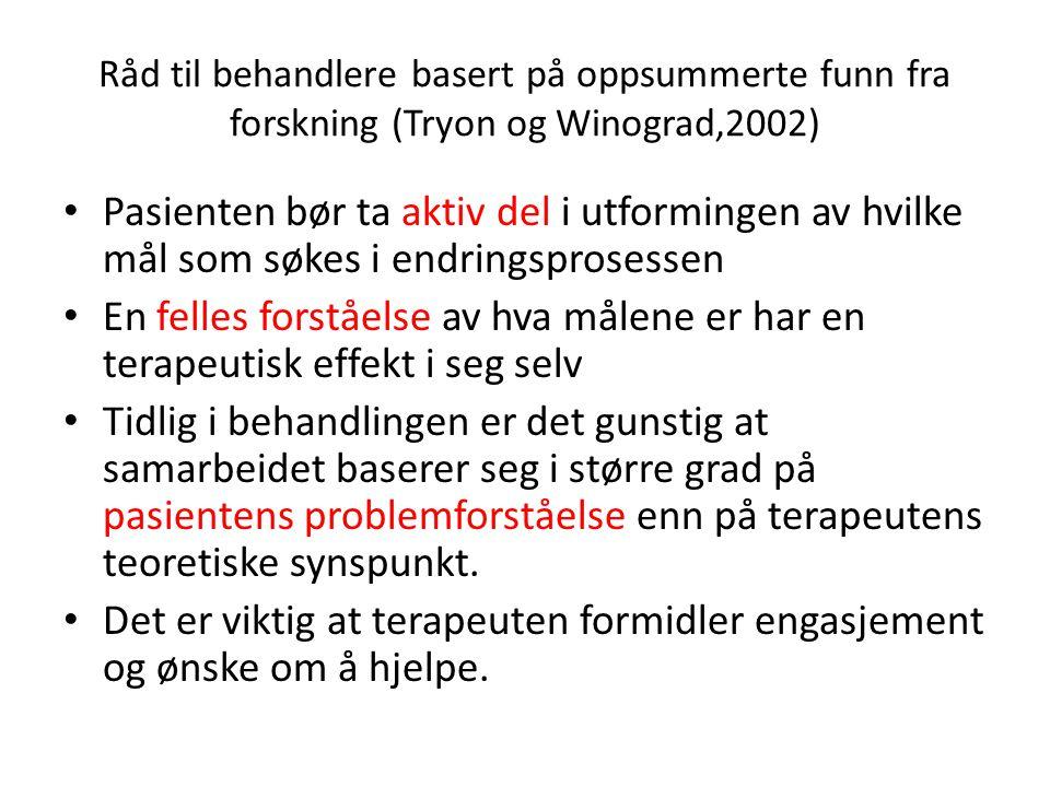 Råd til behandlere basert på oppsummerte funn fra forskning (Tryon og Winograd,2002) • Pasienten bør ta aktiv del i utformingen av hvilke mål som søke