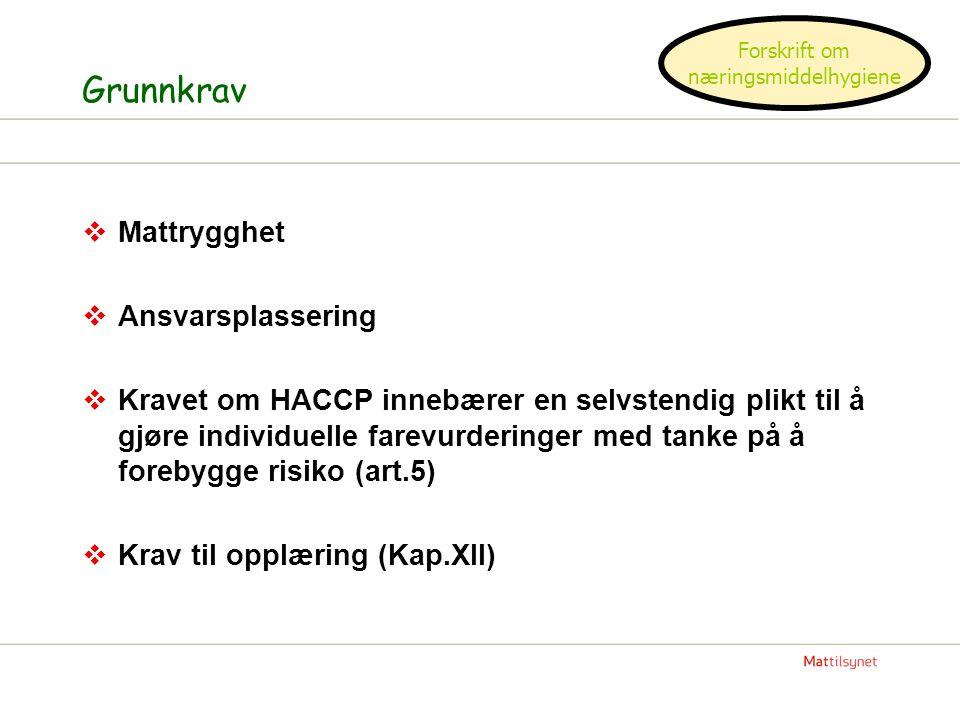 Grunnkrav  Mattrygghet  Ansvarsplassering  Kravet om HACCP innebærer en selvstendig plikt til å gjøre individuelle farevurderinger med tanke på å f