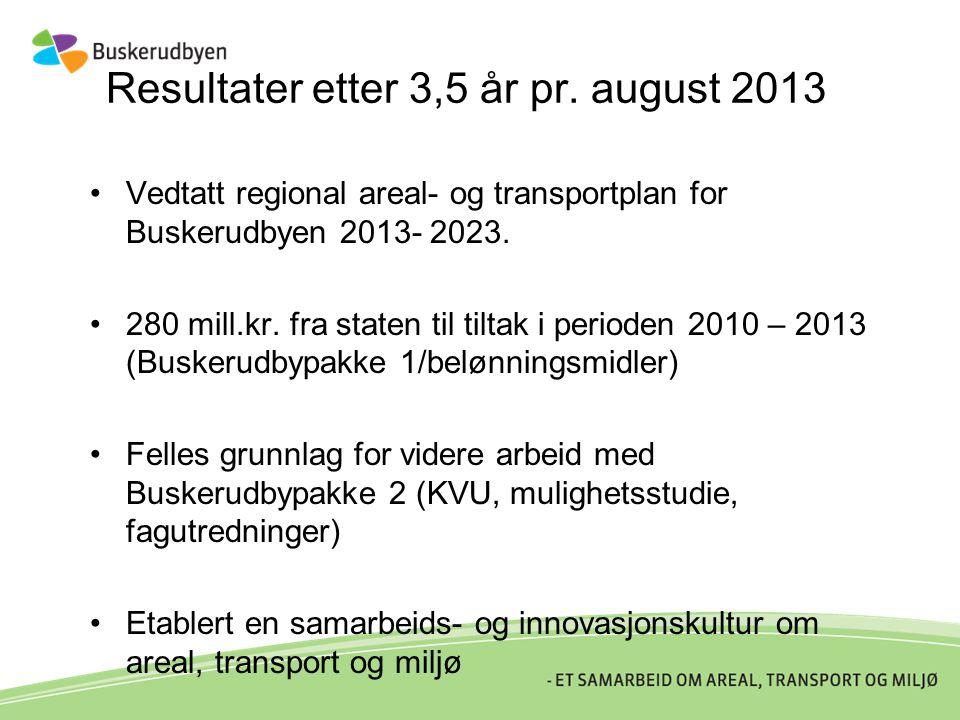 Resultater etter 3,5 år pr. august 2013 •Vedtatt regional areal- og transportplan for Buskerudbyen 2013- 2023. •280 mill.kr. fra staten til tiltak i p