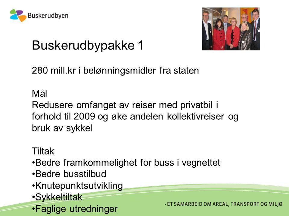 Buskerudbypakke 1 280 mill.kr i belønningsmidler fra staten Mål Redusere omfanget av reiser med privatbil i forhold til 2009 og øke andelen kollektivr