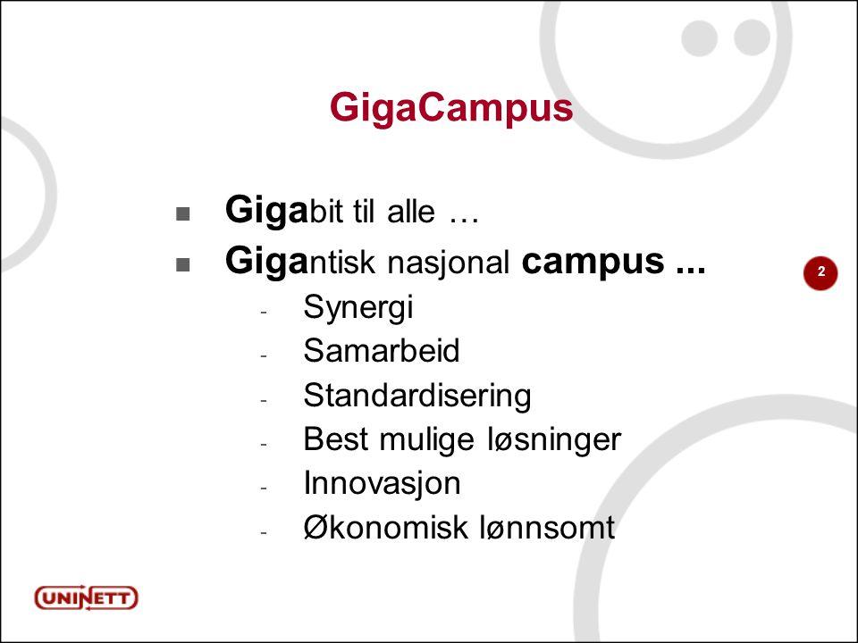 2 GigaCampus  Giga bit til alle …  Giga ntisk nasjonal campus...