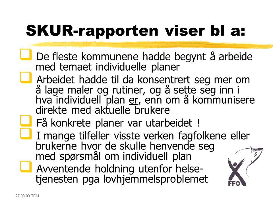 27.03.03 TEM SKUR-rapporten viser bl a:  De fleste kommunene hadde begynt å arbeide med temaet individuelle planer  Arbeidet hadde til da konsentrer
