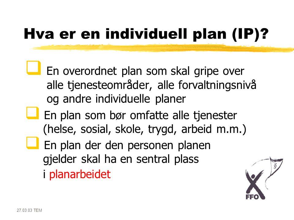 27.03.03 TEM Den overordnede IP er ikke det samme som:  Individuelle: • Behandlingsplaner • Opplæringsplaner (IOP) • Habiliteringsplaner • Attføringsplaner • Rehabiliteringsplaner • Pasientplaner • Omsorgsplaner • Omsorgsavtaler m.m.