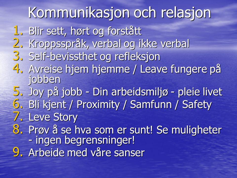 Kommunikasjon och relasjon 1. Blir sett, hørt og forstått 2. Kroppsspråk, verbal og ikke verbal 3. Self-bevissthet og refleksjon 4. Avreise hjem hjemm