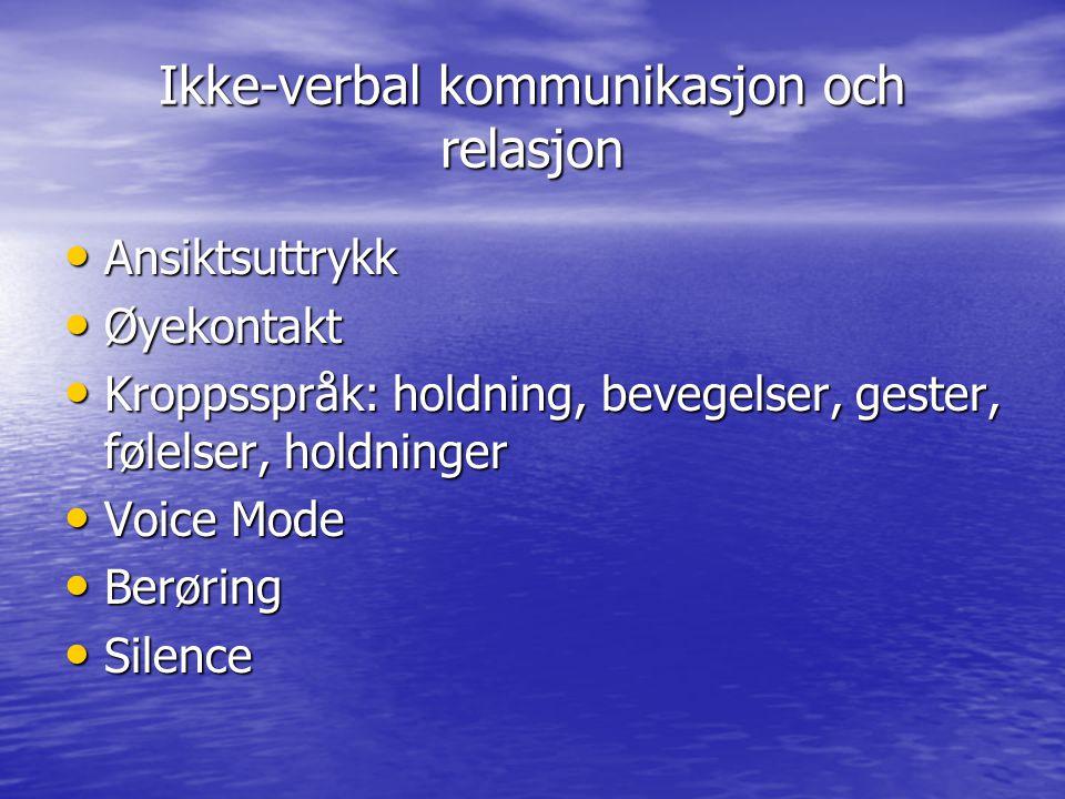 Ikke-verbal kommunikasjon och relasjon • Ansiktsuttrykk • Øyekontakt • Kroppsspråk: holdning, bevegelser, gester, følelser, holdninger • Voice Mode •