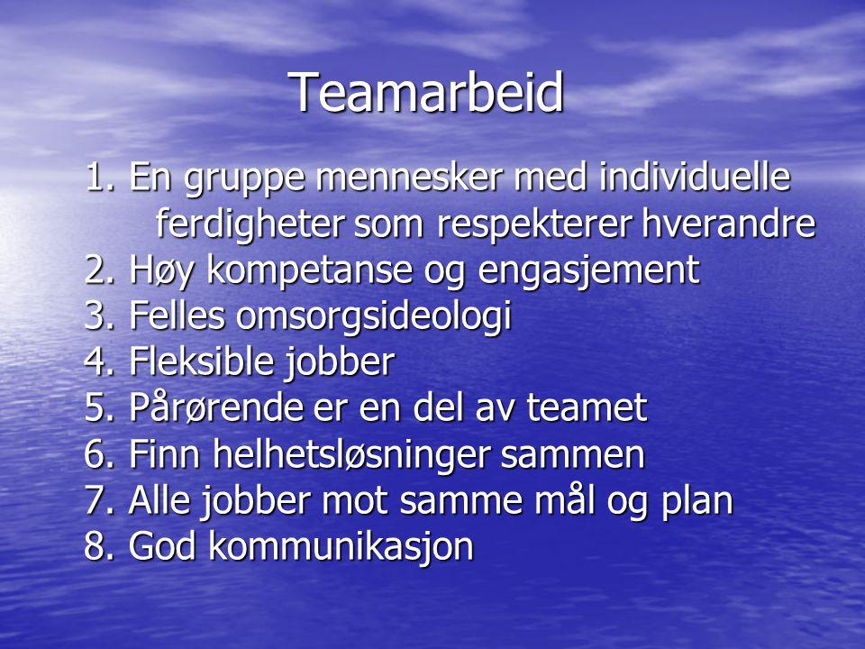 Teamarbeid 1. En gruppe mennesker med individuelle ferdigheter som respekterer hverandre 2. Høy kompetanse og engasjement 3. Felles omsorgsideologi 4.