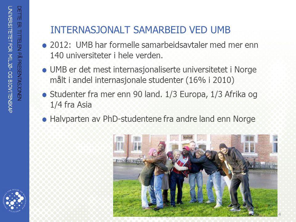 UNIVERSITETET FOR MILJØ- OG BIOVITENSKAP www.umb.no BEHOVSDREVNE INSTITUSJONELLE PARTNERSKAP  Institusjonelt samarbeid med partnere i Sør har alltid vært behovsdrevet, helt fra starten  Basert på behov i Sør, NLH/UMB (Noragric) identifisert mulige bidrag -styrke vitenskapelig personale -utvikling av studieprogram -forskningssamarbeid, prosjektfinansiering -bidrag til å utvikle infrastruktur, laboratorier og forskningsfasiliteter DETTE ER TITTELEN PÅ PRESENTASJONEN 5