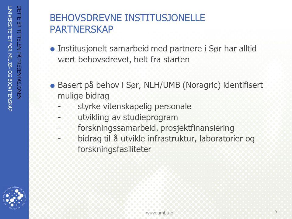 UNIVERSITETET FOR MILJØ- OG BIOVITENSKAP www.umb.no BEHOVSDREVNE INSTITUSJONELLE PARTNERSKAP  For NLH var landbruksekspertise basis for samarbeidet.