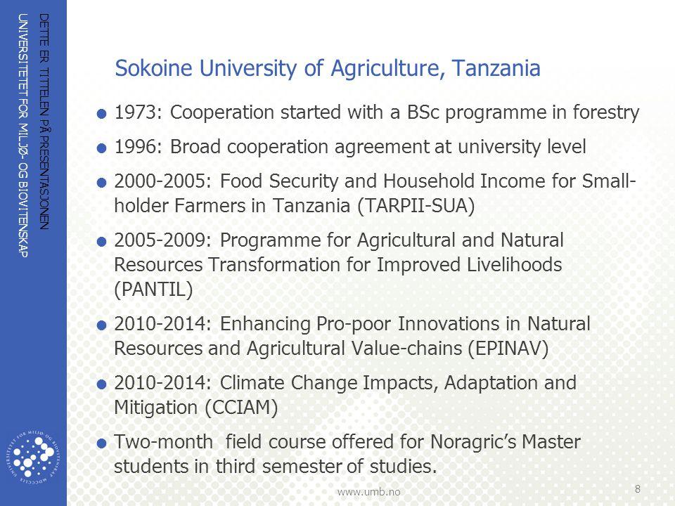 UNIVERSITETET FOR MILJØ- OG BIOVITENSKAP www.umb.no Bunda College of Agriculture, University of Malawi  NLH/Noragric involvert i utviklingen av Bunda College, inkludert biblioteket, med utgangspunkt i deres behov.