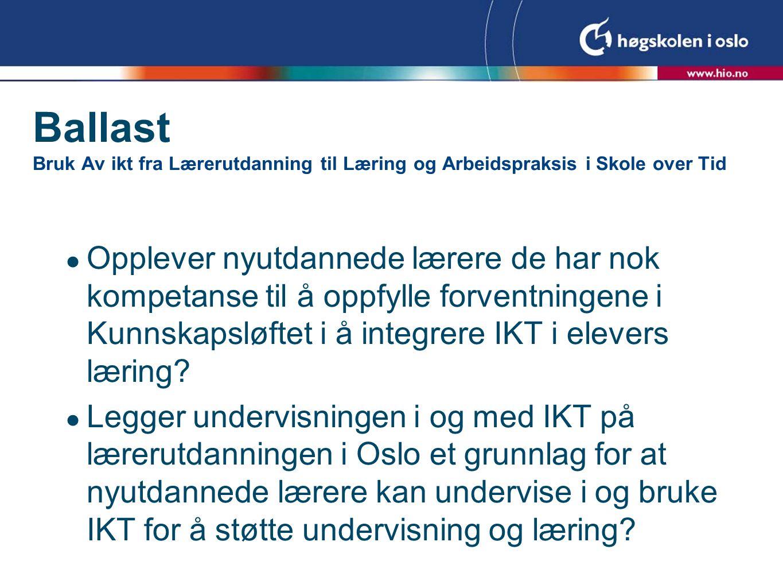 Bakgrunnsdata  170 uteksaminerte studenter i 2007 fra Høgskolen i Oslo  Spørreskjema til avgangskullet - 45% svar  30 intervjuer i løpet av våren 2008