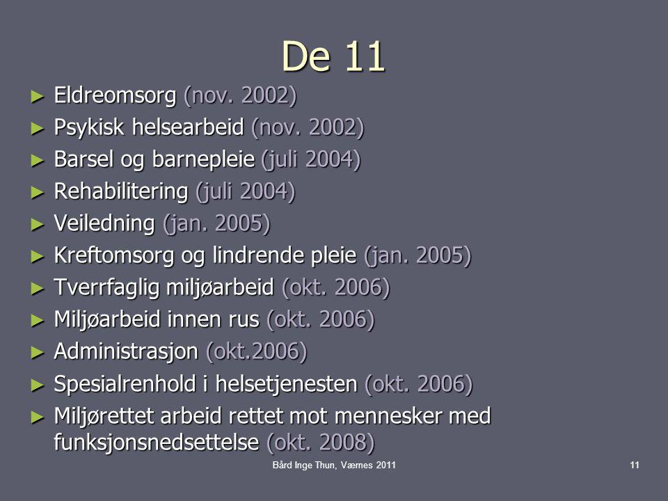 De 11 ► Eldreomsorg (nov. 2002) ► Psykisk helsearbeid (nov. 2002) ► Barsel og barnepleie (juli 2004) ► Rehabilitering (juli 2004) ► Veiledning (jan. 2