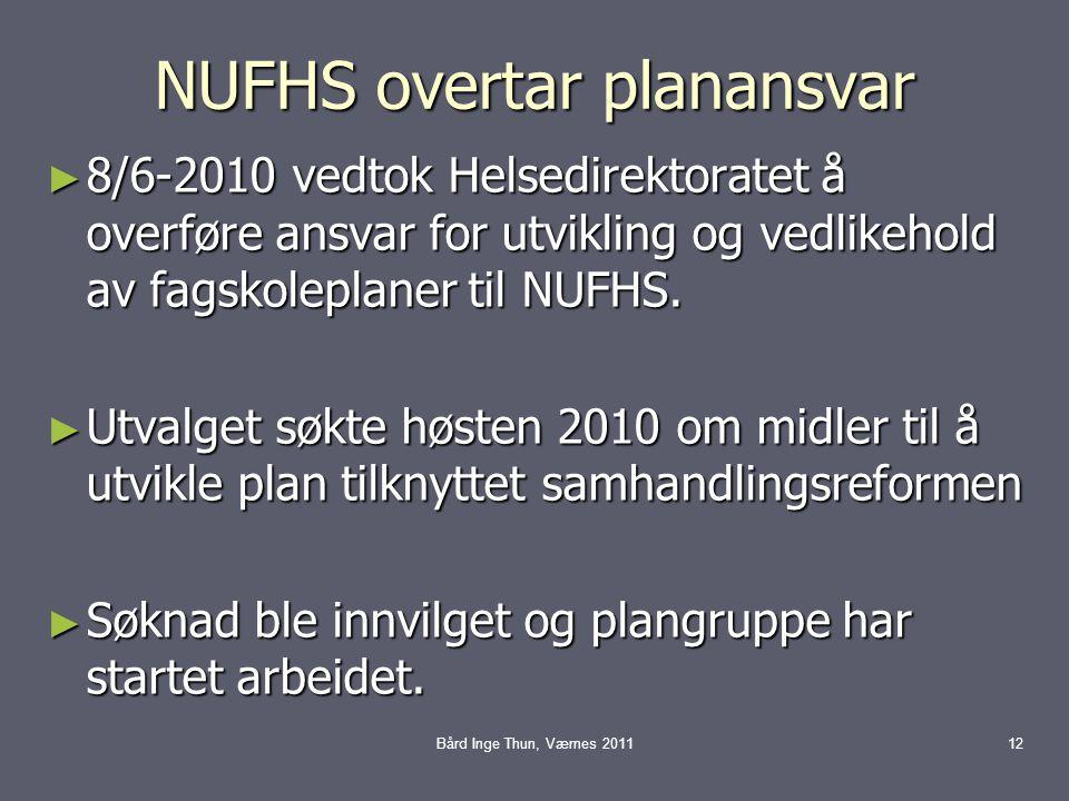 NUFHS overtar planansvar ► 8/6-2010 vedtok Helsedirektoratet å overføre ansvar for utvikling og vedlikehold av fagskoleplaner til NUFHS.