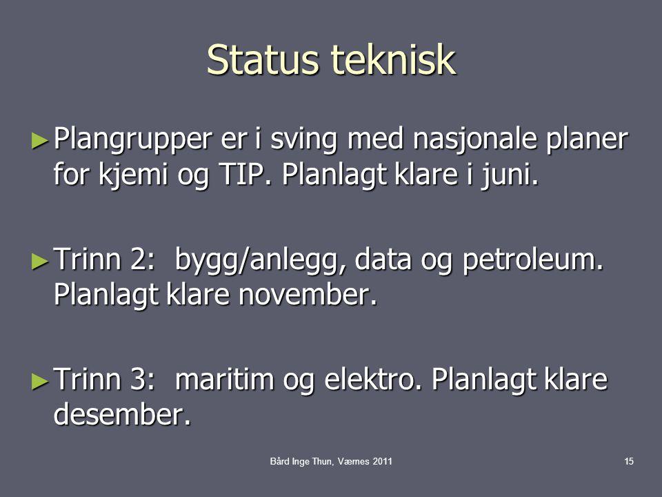 Status teknisk ► Plangrupper er i sving med nasjonale planer for kjemi og TIP. Planlagt klare i juni. ► Trinn 2: bygg/anlegg, data og petroleum. Planl