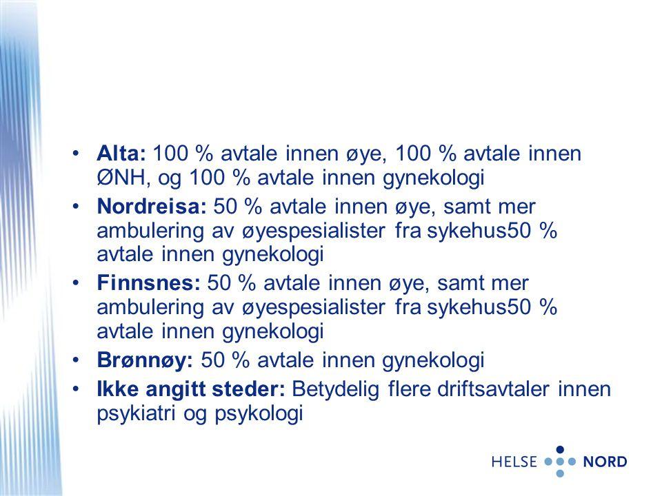 •Alta: 100 % avtale innen øye, 100 % avtale innen ØNH, og 100 % avtale innen gynekologi •Nordreisa: 50 % avtale innen øye, samt mer ambulering av øyes