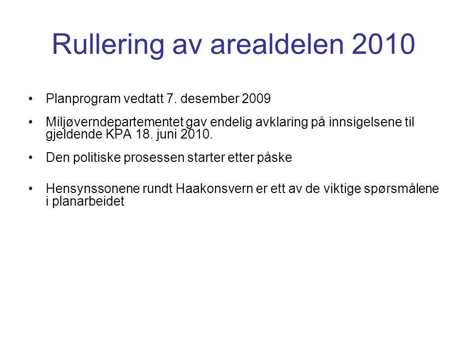 Rullering av arealdelen 2010 •Planprogram vedtatt 7. desember 2009 •Miljøverndepartementet gav endelig avklaring på innsigelsene til gjeldende KPA 18.