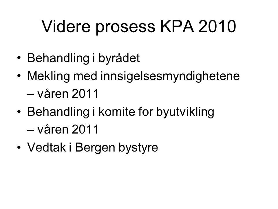 Videre prosess KPA 2010 •Behandling i byrådet •Mekling med innsigelsesmyndighetene – våren 2011 •Behandling i komite for byutvikling – våren 2011 •Ved