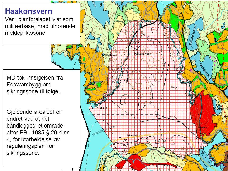 Haakonsvern Var i planforslaget vist som militærbase, med tilhørende meldepliktssone MD tok innsigelsen fra Forsvarsbygg om sikringssone til følge. Gj