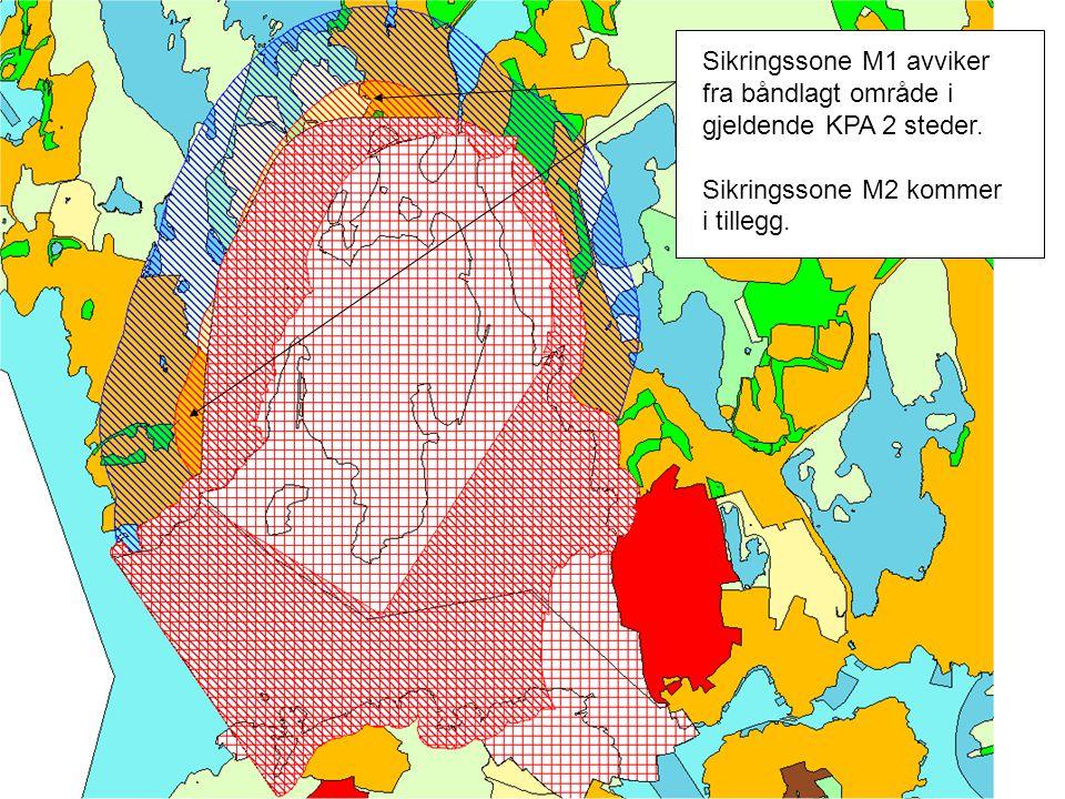Sikringssone M1 avviker fra båndlagt område i gjeldende KPA 2 steder. Sikringssone M2 kommer i tillegg.