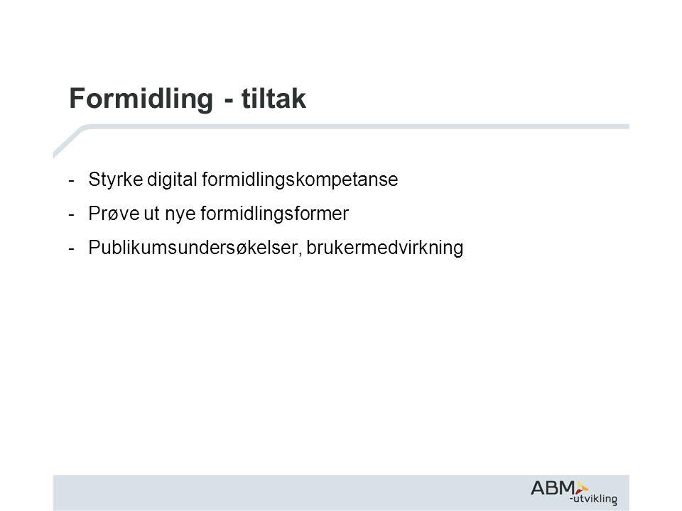 Formidling - tiltak -Styrke digital formidlingskompetanse -Prøve ut nye formidlingsformer -Publikumsundersøkelser, brukermedvirkning