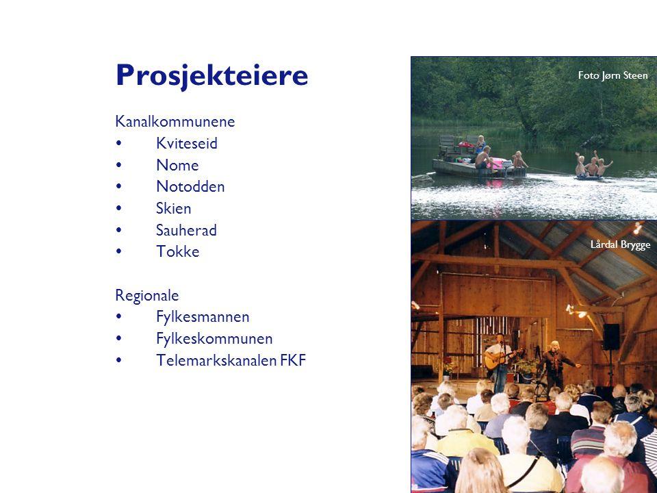 Prosjekteiere Kanalkommunene  Kviteseid  Nome  Notodden  Skien  Sauherad  Tokke Regionale  Fylkesmannen  Fylkeskommunen  Telemarkskanalen FKF