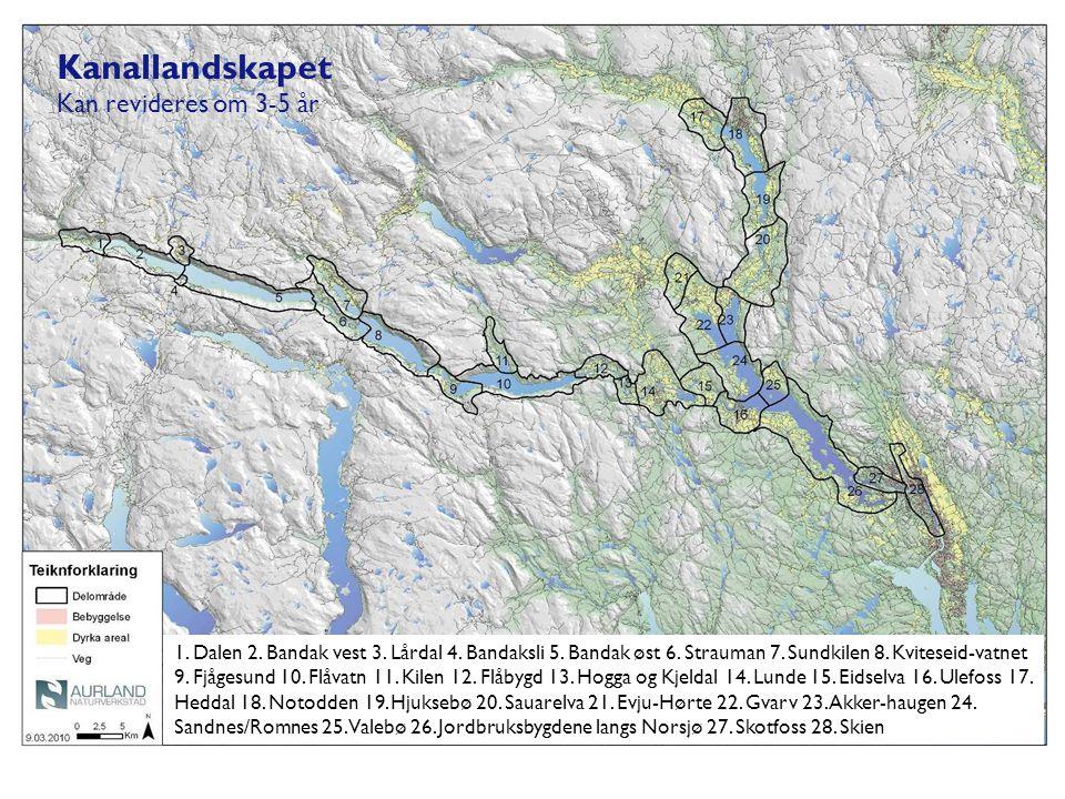 Kanallandskapet Kan revideres om 3-5 år 1. Dalen 2. Bandak vest 3. Lårdal 4. Bandaksli 5. Bandak øst 6. Strauman 7. Sundkilen 8. Kviteseid-vatnet 9. F