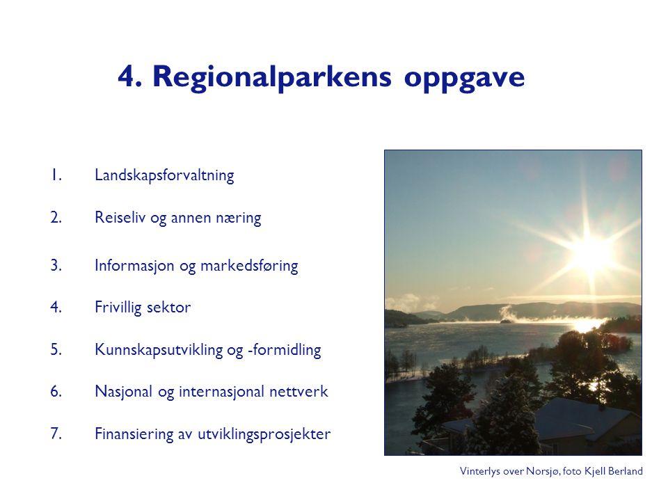 4. Regionalparkens oppgave 1.Landskapsforvaltning 2.Reiseliv og annen næring 3.Informasjon og markedsføring 4.Frivillig sektor 5.Kunnskapsutvikling og