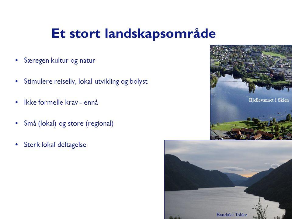 Et stort landskapsområde  Særegen kultur og natur  Stimulere reiseliv, lokal utvikling og bolyst  Ikke formelle krav - ennå  Små (lokal) og store