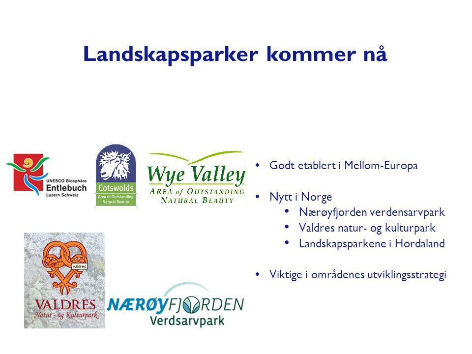 Landskapsparker kommer nå  Godt etablert i Mellom-Europa  Nytt i Norge • Nærøyfjorden verdensarvpark • Valdres natur- og kulturpark • Landskapsparke