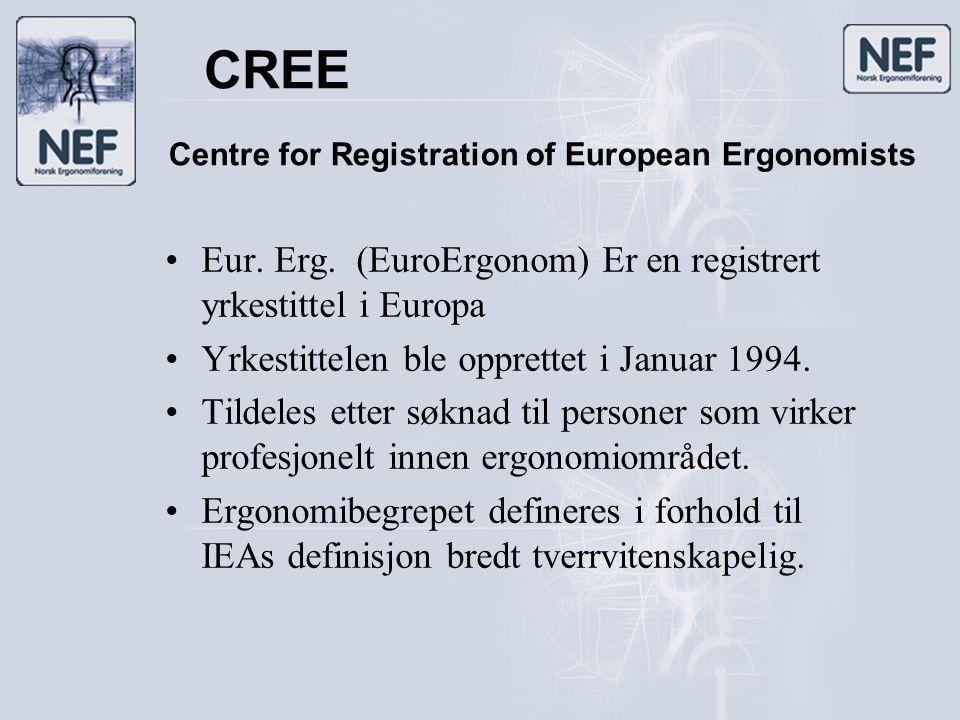 CREE •Eur. Erg. (EuroErgonom) Er en registrert yrkestittel i Europa •Yrkestittelen ble opprettet i Januar 1994. •Tildeles etter søknad til personer so