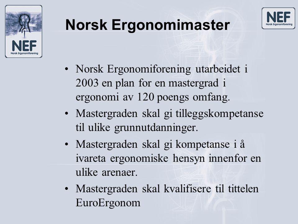Norsk Ergonomimaster •Norsk Ergonomiforening utarbeidet i 2003 en plan for en mastergrad i ergonomi av 120 poengs omfang. •Mastergraden skal gi tilleg