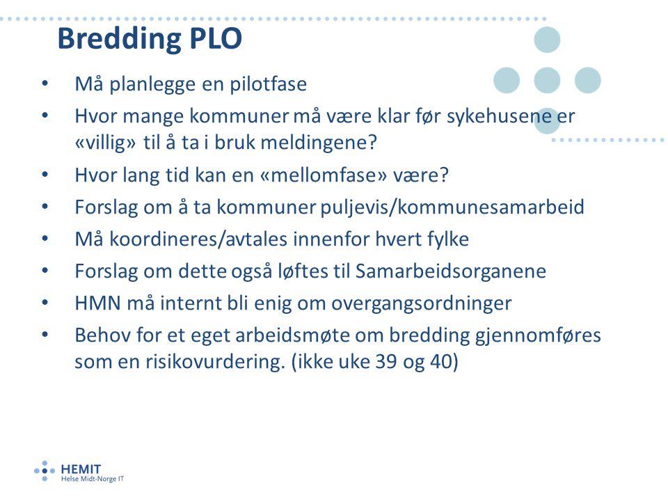 Bredding PLO • Må planlegge en pilotfase • Hvor mange kommuner må være klar før sykehusene er «villig» til å ta i bruk meldingene.