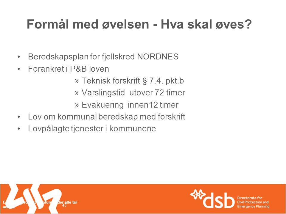 Øvelse Fjellskred Nordnes •30.maiTredje planleggingsmøte •11.-12.juniFolkemøte/1.
