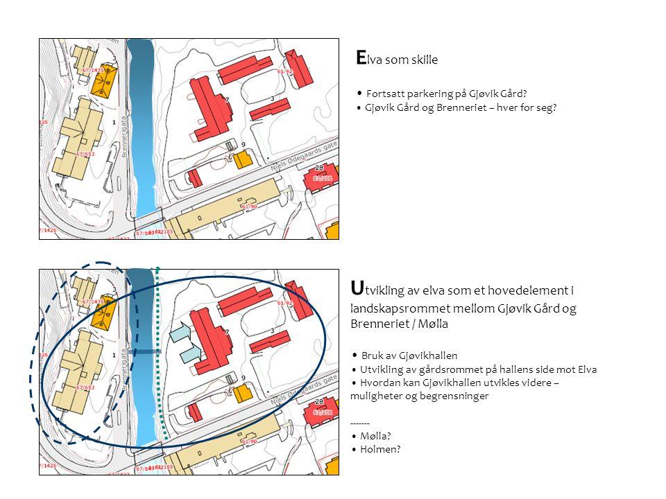 E lva som skille • Fortsatt parkering på Gjøvik Gård.