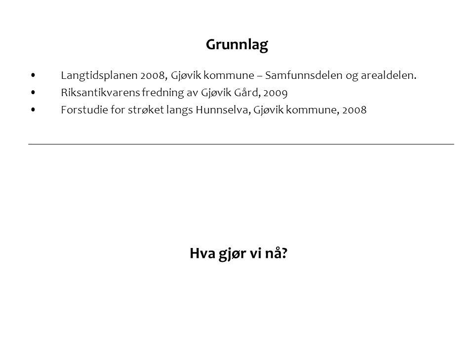 Grunnlag •Langtidsplanen 2008, Gjøvik kommune – Samfunnsdelen og arealdelen.