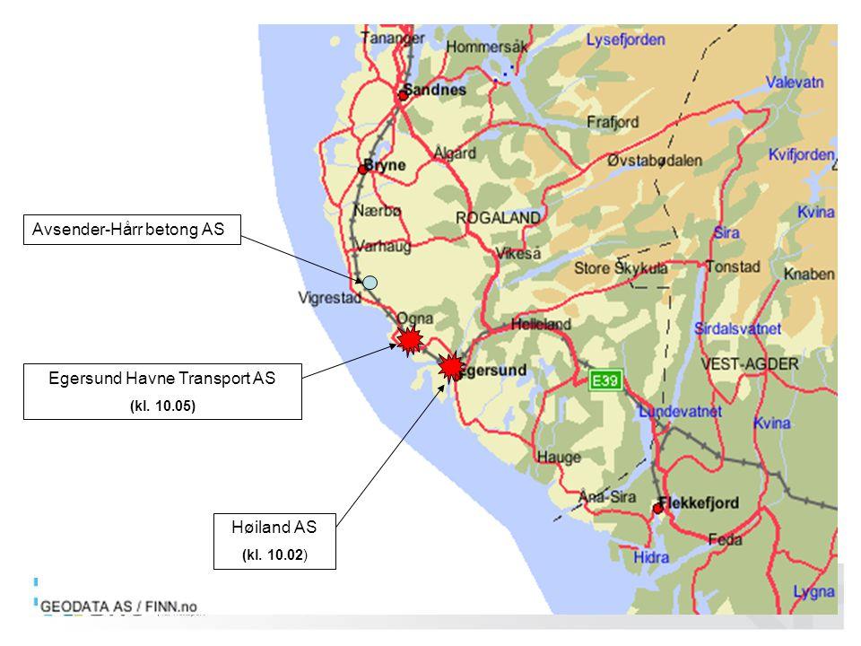05/2011 Martin Visnes Avsender-Hårr betong AS Egersund Havne Transport AS (kl. 10.05) Høiland AS (kl. 10.02)